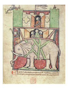War elephant carrying a howdah full of soldiers, from the Westminster Abbey Bestiary, c 1275-1300