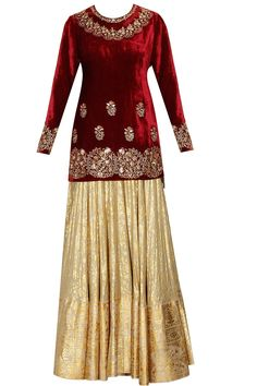 Red short embroidered kurta and gold foilage print lehenga set available only at Pernia's Pop Up Shop.