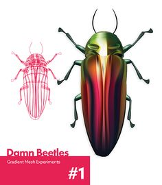 This Damn Beetle on Behance - Gradient Mesh experiments by Nathan Aucott Gradient Mesh, Neon Design, Advertising Design, Logo Inspiration, Beetle, Infographic, Gd, Behance, Paintings