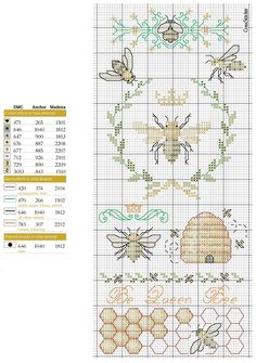 0 point de croix grille et couleurs de fils ruche, miel et abeilles