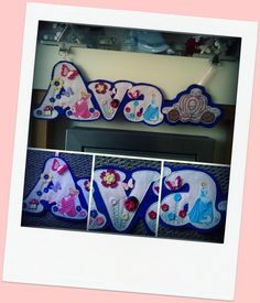 Ava Princess theme Name Banner in Pink and Purple Felt