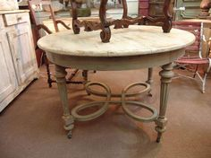 round antique dining tables | Antique Country French Louis XVI Round Dining Table –