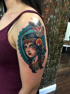 Gorgeous Native American girl by tattoo artist @kglasstattoo. Look at the color!
