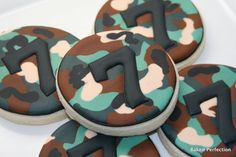 Green Camoflauge Hand Decorated Cookies for Army Party, Camo Party//Birthday Favors with Monogram or Age via Etsy Army Birthday Parties, Army's Birthday, Birthday Cookies, Birthday Favors, Birthday Party Themes, Birthday Ideas, Camouflage Party, Camo Party, Nerf Party