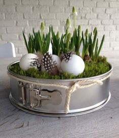 Outside Easter decoration. Outdoor easter decoration. Tarte mold, eggs ...  #decoration #easter #outdoor #outside #tarte