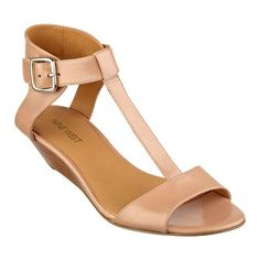 """Our Verucha wedge sandals feature and open toe with T-strap and adjustable buckle closure. Padded footbed for all-day comfort. Leather upper. Man-made lining and sole. Imported. 1 1/2"""" stacked heels. Wedge sandals."""