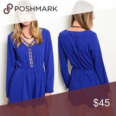 Royal blue long sleeve cutout romper Adorable polyester spandex blend long sleeve romper. Cutout front detail Pants Jumpsuits & Rompers
