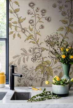 'Woodblock Floral' Mural - Buds & Blooms edit from £60 | Shop Cushions & Wall Murals at surfaceview.co.uk