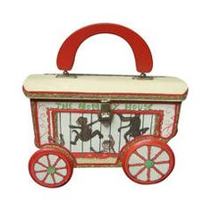 Whimsical Monkey Circus Theme Decoupage Handbag c 1970