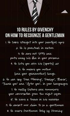 10 regole di Givenchy su come riconoscere un signore