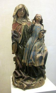 Sainte Anne trinitaire, sculpture de l'atelier de Jos Guntersumer.L'enfant malheureusement disparu.