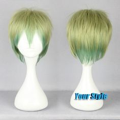 32cm Cute Short Pixie Boy Cut Anime Wigs Cheap Good Quality Wigs Haircuts Short Hair Layered Short Hairstyles Light Green Ombre