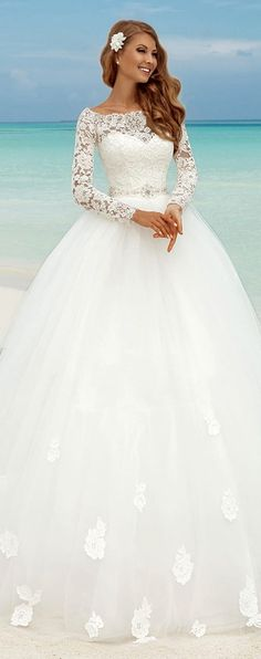 Fabulous Lace Bateau Neckline Ball Gown Wedding Dresses With Lace Appliques #InteriorDesignIdeasAndThings!