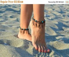 ON SALE anklets Native American style feather bracelet Crochet Cord, Anklet Designs, Beach Anklets, Native American Fashion, Best Wear, Female Feet, Bare Foot Sandals, Ceramic Beads, Beautiful Gift Boxes