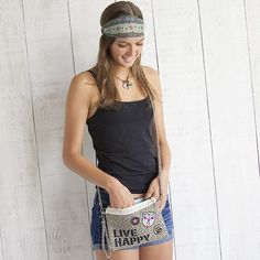Live Happy Patch Cross Body/Wristlet From Natural Life