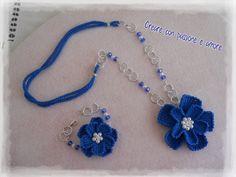 Collana e bracciale ad uncinetto con fiore a punto tunisino by https://www.facebook.com/creareconpassioneeamore/ … … #crochet #handmade #necklace #jewelry #bracelet