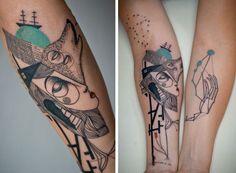 Сюрреалистичные кубические татуировки творческого дуэта художников
