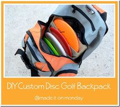 Um, genius!  I might have to learn to sew for this particular project!!  diy custom disc golf backpack