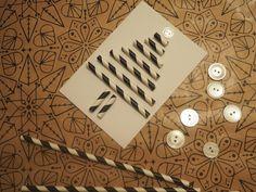 Weihnachtskarte mit Strohhalmen