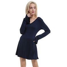 De+las+mujeres+Línea+A+Vestido+Sexy+/+Casual+Un+Color+Sobre+la+rodilla+Escote+en+V+Profunda+Algodón+/+Otro+–+MXN+$+186.81