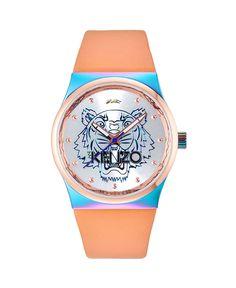 Kenzo orologio - cinturino in pelle - quadrante logato con tigre - movimento a tre lancette - indici con colore in contr - Orologio donna  Rosa