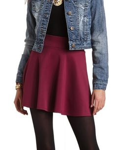 SOLID HIGH-WAISTED SKATER SKIRT cute outfit with tights and a jean jacket