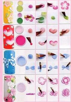 3d+nail+art | 3D Acrylic nail art featuring a 3D Frangipani, 3D heart, 3D ribbon and ...