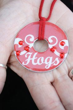 Arkansas Razorbacks Football Metal Washer Pendant by SweetAnnMarie, $12.00