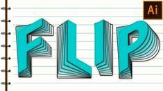 Flip Text Effect in Adobe Illustrator Tutorial - YouTube
