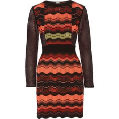 M Missoni Crochet-knit dress ($423) ❤ liked on Polyvore featuring dresses, papaya, loose fitting dresses, red crochet dress, colorful dresses, loose fitted dresses y fitted dresses