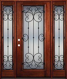 $2098 - Full Lite Grille Mahogany Wood Door Unit with Sidelites #7443 & Door Emporium - | grill work | Pinterest | Doors and Glass doors