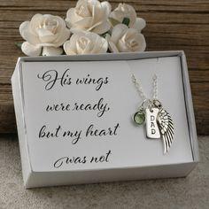 Remembrance angel wing bar necklace silver plated personalised keepsake in memory of name initial remember mum nan dad grandad