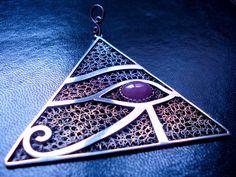 /Ra-Pyramid Eye Horus/ Sterling Silver Filigree Pendant / Dimension 7.0 x 7.0 x 7.0 cm+1.0 cm / Sapphire called Ruby 1.3 x 1.0 cm