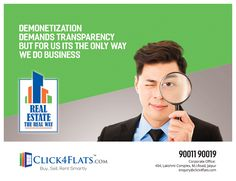 """Who says that """"Real estate business can't have transparency"""" In fact, we at www.click4flats.com are operating in this way only since inception with more than 810 happy customers in Pink City Jaipur, and still counting...  #Home #Jaipur #Happy_Customer #Demonetization #Transparency #Click4flats"""