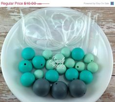 SALE Gray Turquoise bead DIY Necklace Kit teething beads Chunky silicone teething beads teething necklace beads