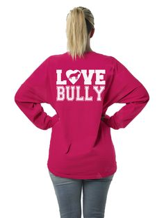 Love Bully Women's Long Sleeve Jersey for PitBull and Bully Breed Lovers in sizes small -2x (27.99 USD) by BullySupplies