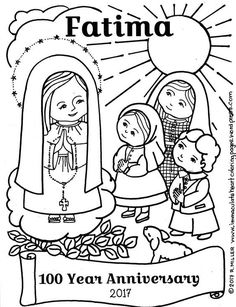 Our Lady With The Children Of Fatima Coloring Page 100 Year Anniversary Catholic Education