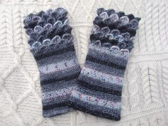 Vegan Crocodile Stitch Dragon Scale Gauntlets Crochet  Wrist Warmers Wrist Cuffs Handmade in Ireland