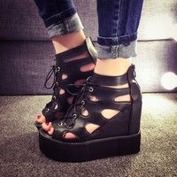 Wish | Women new fashion summer lace up height increasing hollow roman casual platform wedge sandals