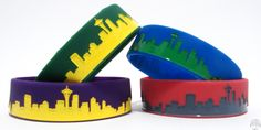 Seattle Skybands 4 Pack 3/4 Inch Silicone Bracelet By Skybands (www.Sky-Bands.com) Pack Includes One of Each Color One Size Fits Most Silicone Bracelets, Cuff Bracelets, Seattle, Bands, Essentials, Sky, Accessories, Color, Jewelry