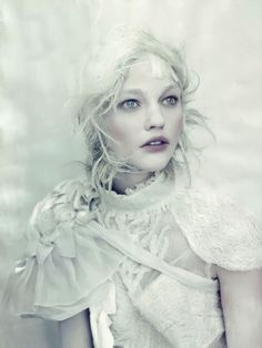 Queen of Ice and Snow / Fairytale / karen cox. Love the feel of this/fabric, make-up, colour and hair wise