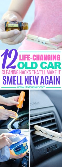 These 12 Car Cleaning Hacks Will Help You Organize And Make Your Old Car Smell Like New Again! #carhacks #hacks #smellhacks #diy #clean #organize #organization