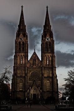 Gloomy Church of Saint Lumdila at Náměstí míru (Peace square) in Prague, Czech Republic. A pic by me ;)