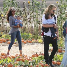 Zoe Saldana and Marco Perego Take Their Twin Boys to the Pumpkin Patch!