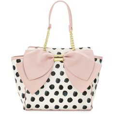 Betsey Johnson Signature Bow Polka-Dot Tote Bag ($67) ❤ liked on Polyvore featuring bags, handbags, tote bags, blush, zippered tote bag, handbags totes, betsey johnson satchel, polka dot tote and betsey johnson tote