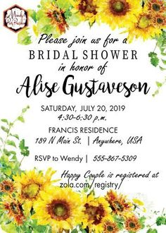 Plan a DIY bridal shower with this Sunflower Bridal Shower Invitation template that is editable in Adobe! From Mandy's Party Printables Summer Bridal Showers, Bridal Shower Party, Free Baby Shower Printables, Party Printables, Country Wedding Invitations, Bridal Shower Invitations, Adobe, Bachelorette Games, Free Birthday