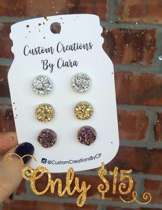 Silver, Gold, Gunmetal Druzy Earring Set, Stud Earrings, Faux Druzy Earring, Druzy Earrings , Stone Jewelry, Boutique, Stud Opal, Rose Gold