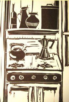 Kitchen Lino Print by SophiaSaundersPrints on Etsy, $20.00