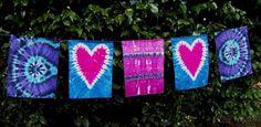 Tie Dye Flags With Two Hearts Tie Dye Dream by tiedyedmonkeys Tie Dye Heart, Heart Garland, Prayer Flags, Two Hearts, Hanging Hearts, Tie Dye Patterns, Tye Dye, Banners, Diy Crafts