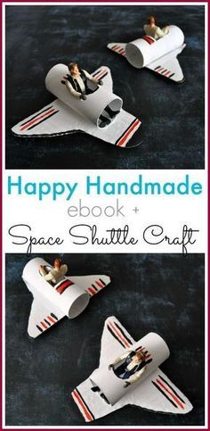 A look at the Happy Homemade eBook and Space Shuttle Craft for children from ā . - Pappteller - A look at the Happy Homemade eBook and Space Shuttle Craft for children from ā'¬ ā € ¦ – - Kids Crafts, Camping Crafts For Kids, Fun Projects For Kids, Toddler Crafts, Preschool Crafts, Diy For Kids, Arts And Crafts, Craft Kids, Outer Space Crafts For Kids